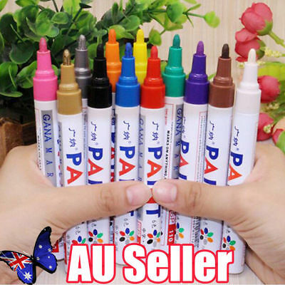 12PCS 12 colors Permanent Fabric Paint Pens T-Shirt Textile Shoes DIY Markers BK
