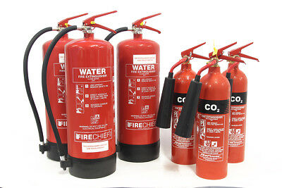 Selection of fire extinguishers, 3 x CO2 plus 3 x water, new / unused