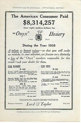 Lord and Taylor Only Hosiery For Women and Men 1911 Vintage Ad