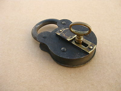 Antique Portugal Iron & Brass Padlock Working With Key Made In Western Germany
