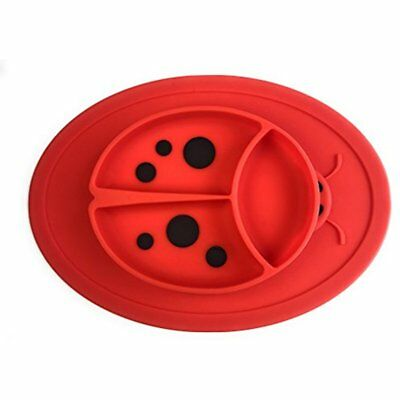 Silicone Mini Placemat For Kids Toddlers Infants Ladybeetle Shaped 3 Sections By