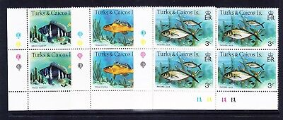 TURKS & CAICOS IS QEII SG514A/28A Fish set blocks of 4 no date superb u/m cat£48