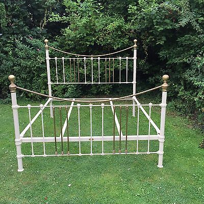 Fairy Tale 7 Foot Wide White Cast Iron & Brass Huge Bed Stunning Superb
