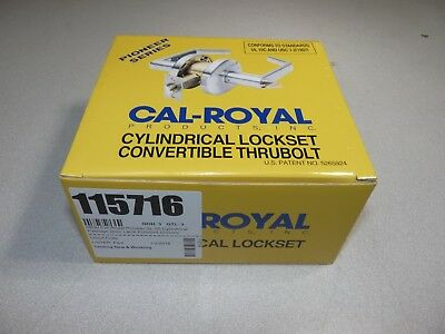 NEW Cal-Royal Pioneer SL-30 Cylindrical Passage Door Latch Polished Chrome