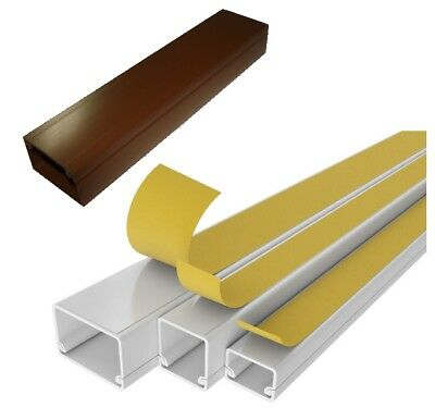 6 METRES - Electrical Cable Trunking Wire Conduit Tidy Plastic Cover White Brown