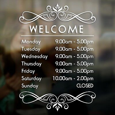 Shop Restaurant Bar Cafe Open Opening Hours Times Sign Decal Sticker