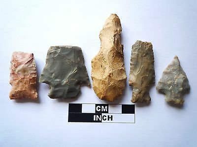 Native American Arrowheads x 5, Genuine Archaic Artifacts, 1000BC-8000BC (967)