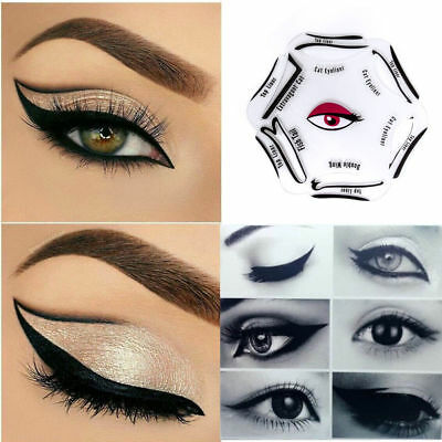 NEW 6 in 1 EYELINER Stencil Set Makeup Guide Quick Eye Liner Shaper Tool Cat Eye