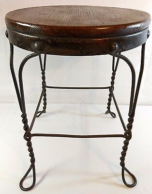 ANTIQUE Vintage ICE CREAM PARLOR STOOL CHAIR WROUGHT IRON TWISTED METAL Wood top