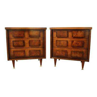 Pair of Mid-Century Danish Modern 3D Front Burlwood Walnut Nightstands #14