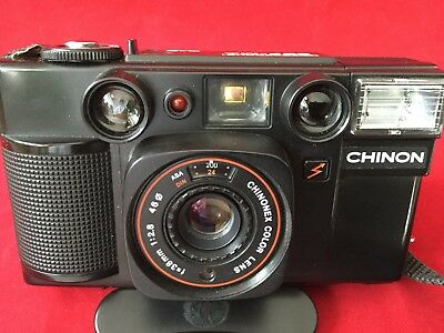 Vintage CHINON 35F-MA Intrafocus 35mm Film Camera With Case Working