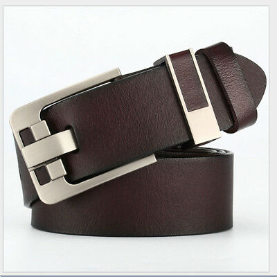 Genuine Real Cow Leather Men's Belt Waistband Waist Strap Girdle Smooth Buckle