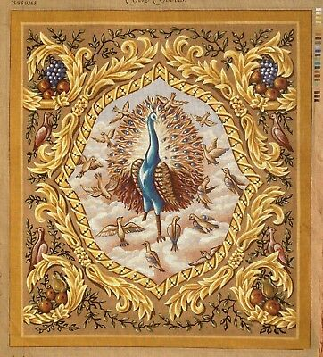 "Needlepoint High quality HAND PAINTED canvas ""Peacock"" 29""x33"" (74x84cm.) 9365"