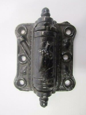 Vtg Antique Victorian Cast Iron Spring Loaded Door Hinge Acorn Design Black