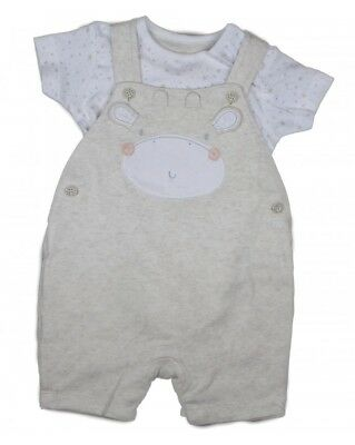 Ex BHS Baby Boys Cream Cow Farm Dungarees & Top Outfit Set Age 3 6 9 12 18 24