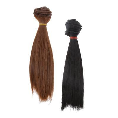 2 Pieces 15x100cm DIY Wig Straight Hair for BJD SD Barbie Doll Black & Brown