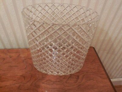 Vtg Mid Century Lucite Acrylic Plastic Oval Waste Basket Trash Can Criss Cross