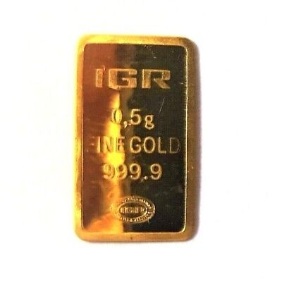 1/2 Gram .9999 Fine Gold Bullion Bar