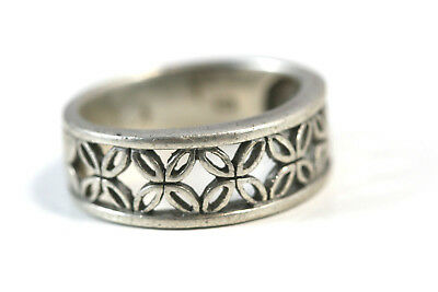 "D394 Lattice Band Flower Sterling 925 3/8""wide Ring size 7 1/4"