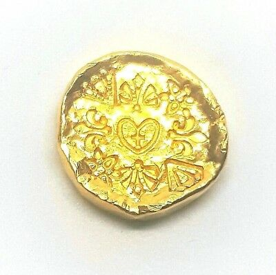 1/2 Troy Ounce .999 Fine 24k Gold Art Round - Hand Poured - Hand Stamped