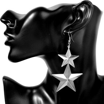 BIG LONG Earrings Star Silver Drop Party Dangle Statement Large Lightweight Glam