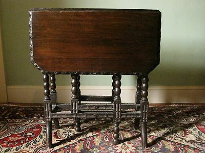 Gothic Style Victorian Antique Dark Oak Folding Drop Leaf Sutherland Table