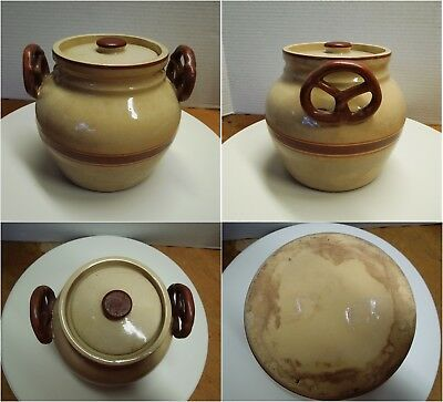 Vtg Brown Orange Stripe Pottery Jar with Pretzel Handles - Cookies Unknown Maker