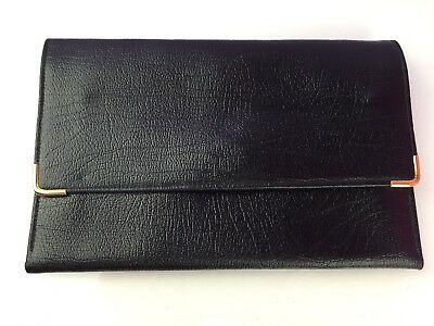Real Leather Made In England Ladies Envelope Style Clutch Bag Wallet Purse Black