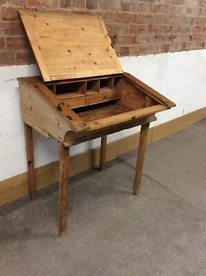 Vintage Pine School Desk / Writing Desk with Lift Up Sloping Tray + Drawers