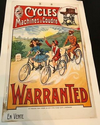 Original Vintage Poster Cycles Machines à Coudre Warranted ca. 1910