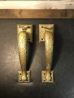 VINTAGE PAIR of LARGE BRASS ARCHITECTURAL DECOR HARDWARE DOOR PULL HANDLES