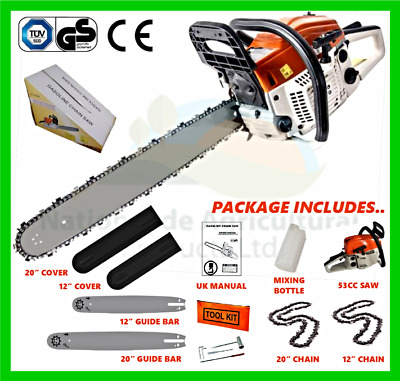 "Chainsaw Petrol 53cc (2 x Bars, 2 x Chains) 20"" & 12"", Bar Covers & Tool Kit New"