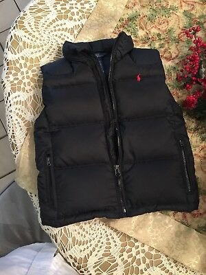 Polo Ralph Lauren Boys Black Zip Down Puffer Vest  Size 6 Very Nice
