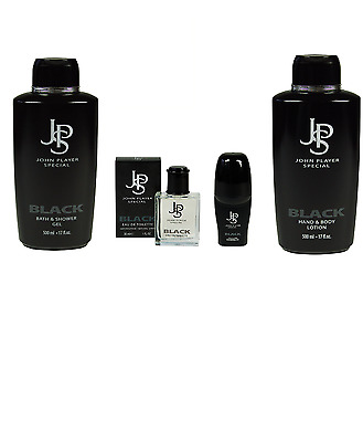John Player Special Black Set Duschgel Body Lotion Edt Deo Roll-On
