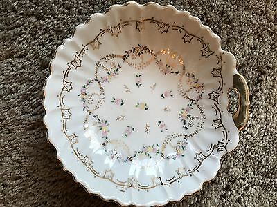Vntg Ruffled Handle Gold & Roses Porcelain Candy Nut Dish Crossed Blue Arrows