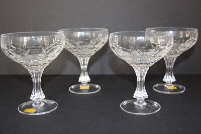 4 Cut Crystal Sherbet Dishes Wine Glasses Echt Bleikristall German Star Pattern
