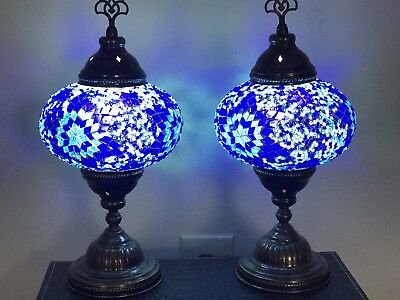 Lot Of Two Handmade Mosaic Glass table lamps with LED BULB New LARGE GLOBE