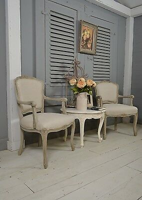 Pair of Shabby Chic Vintage French Louis XV Armchairs - Grey - FREE UK DELIVERY!