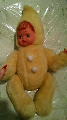 Vintage vtg Plush Rubber Face Bottle Thumb Sucking Baby doll Fur