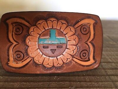 Vintage ZUNI Native American Leather Belt Buckle - hand tooled
