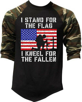 Mens I Stand For The Flag Kneel For The Fallen Camo Baseball Raglan T Shirt Army