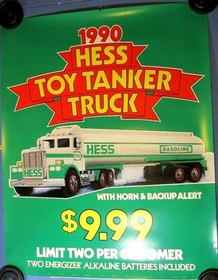 "HUGE Orig. 1990 Hess Toy Truck Tanker Advertising Marketing 58""x46"" Sign Poster"