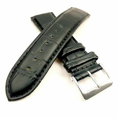 Black Curved End Genuine Leather Replacement Watch Strap Padded 18 20 22 or 24mm
