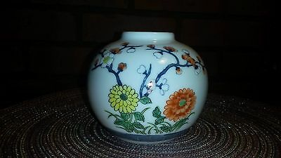 """Vintage Porcelain Vase - Painted in Hong Kong - Flowers - Small 3 1/2"""" Tall"""