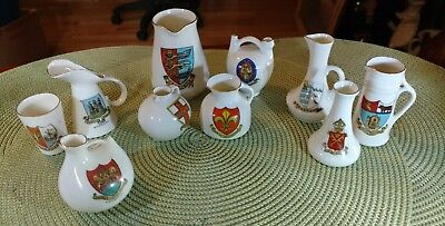 Lot of Antique Crested China Souvenirs W.H. Goss, Arcadian, Gemma 10 Pieces