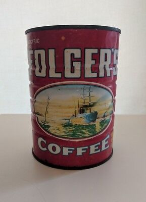 Vintage Nostalgia 1980 Folger's Coffee Tin Can Canister 1lb Size Boat Image