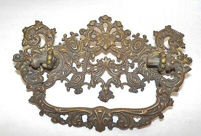 """Antique Ornate Brass Drawer Pull With Bail Handle 5"""" Wide By 2 1/4"""""""