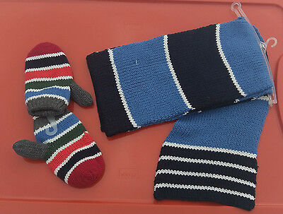 The Childrens Place Boys Multi Color Knitted SCARF One Size & MITTENS 18-24M NEW