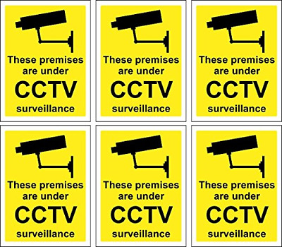 CCTV Surveillance Signs 6 x Self Adhesive Stickers 100mm x 75mm Indoor Outdoor