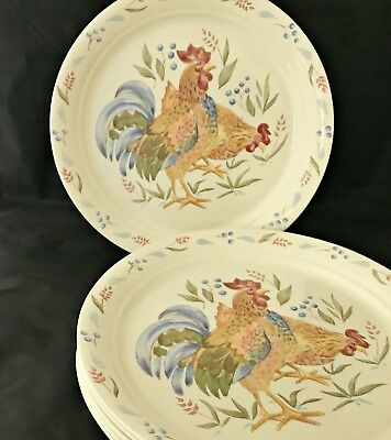 Corelle Corning \ Country Morning\  Dinnerware Plates Bowls Beige Rooster & CORELLE CORNING \